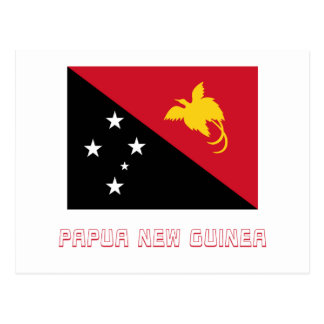 Papua-Neu-Guinea Flagge mit Namen Postkarte