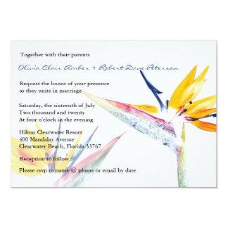 Paradiesvogel Blumen-Hochzeits-Einladung 12,7 X 17,8 Cm Einladungskarte