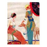Parasols et lévrier de femmes carte postale