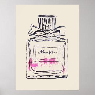 Parfümflaschen-Mode-Wasserfarbeillustration Poster