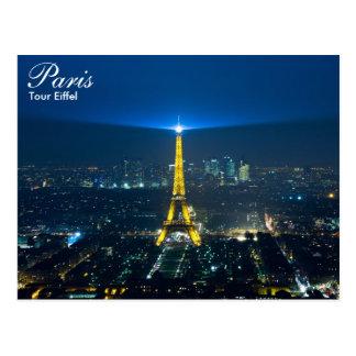 Paris - Ausflug Eiffel an der Nachtpostkarte Postkarte