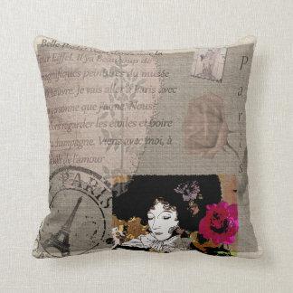 Paris-Dame mit Hut-Rosa-Blumen-Collage Kissen