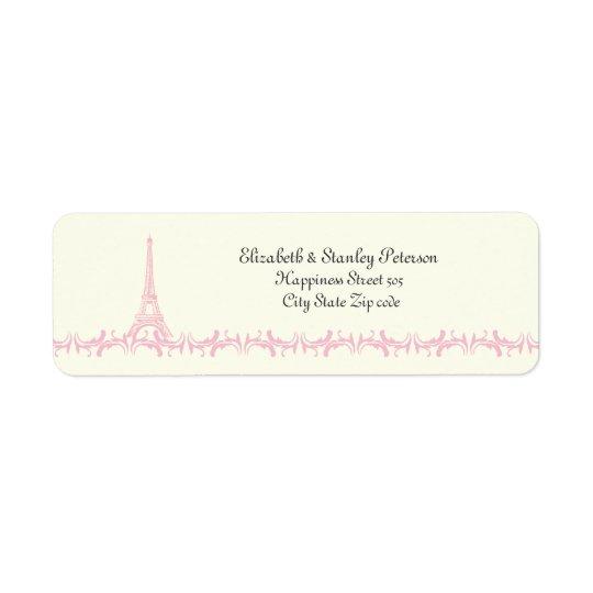 Paris, das rosa Eiffelturmelfenbeinaufkleber Rücksendeetikett