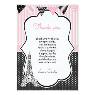 Paris-Eiffelturm danken Ihnen zu kardieren Karte