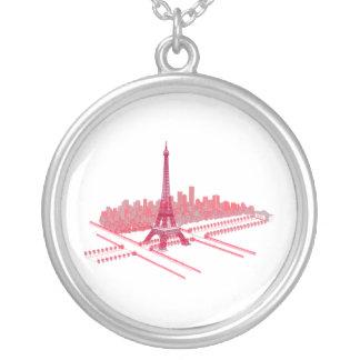 Paris-Eiffelturm-moderne Skizze Versilberte Kette