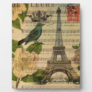 Paris-Eiffelturm Vogel der botanischen Kunst Fotoplatte