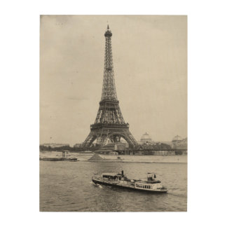 Paris, Frankreich: Ansicht des Eiffelturms und der Holzdruck