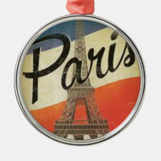 Paris Frankreich Vintage Silbernes Ornament