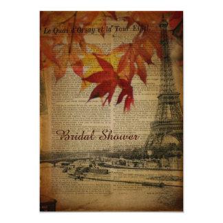 Paris-Herbst-Blätter-Fall-Brautparty Karte