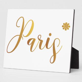 Paris-in-Gold-mit-Blume Fotoplatte