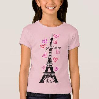 PARIS JE T'AIME EIFFEL UND ROSA HERZEN T-Shirt