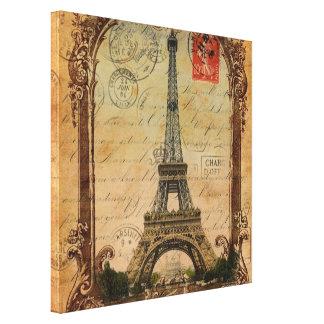 Paris-LandschaftsVintager Eiffel-Turmdekor Leinwanddruck