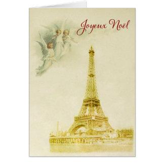 Paris mit Engel Weihnachtskarte Grußkarte