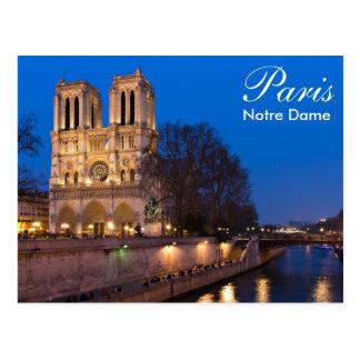 Paris - Notre Dame an der Nachtpostkarte Postkarte
