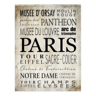 Paris-Typografie - Untergrundbahn-Art Postkarte
