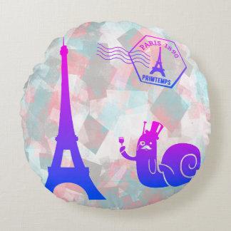 Paris u. ein niedliches Escargot einzigartiges Rundes Kissen