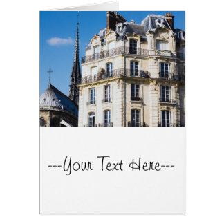 Pariser Gebäude und Notre Dame Karte