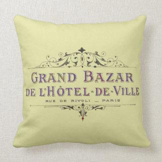 Pariser Hotel-Vintage französische Anzeige Kissen