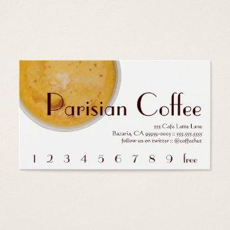 Pariser Kaffee-Getränk-Loyalität/Lochkarte Visitenkarten