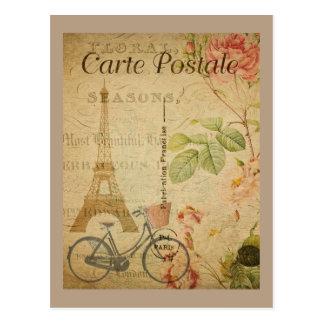 Pariser Vintages mit Eiffel-Turm Postkarte