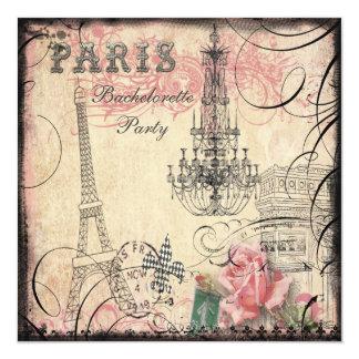 Partie chic de Bachelorette de Tour Eiffel et de Carton D'invitation 13,33 Cm