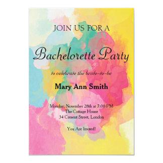 Partie colorée de Bachelorette de couleur d'eau Carton D'invitation 12,7 Cm X 17,78 Cm