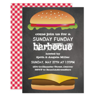 Partie de barbecue de tableau de dimanche Funday Carton D'invitation 12,7 Cm X 17,78 Cm