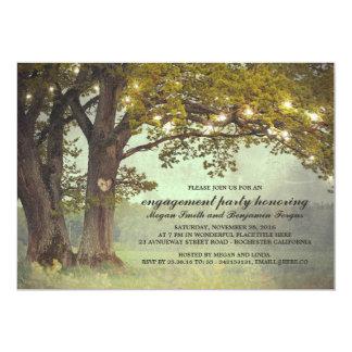 Partie de fiançailles romantique de chêne rustique carton d'invitation  12,7 cm x 17,78 cm