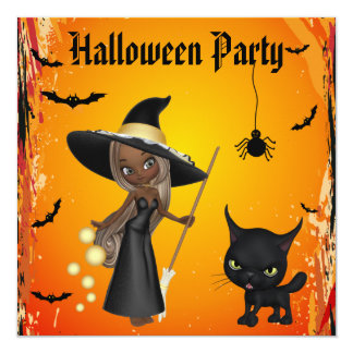 Partie de Halloween de sorcière et de chat Carton D'invitation 13,33 Cm