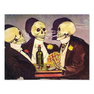 Partie de jeu vintage de tisonnier de squelettes carton d'invitation 10,79 cm x 13,97 cm