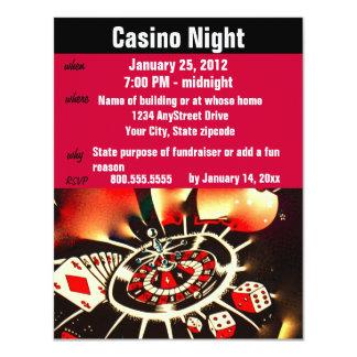 Partie de nuit de tisonnier de casino carton d'invitation 10,79 cm x 13,97 cm