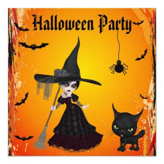 Partie gothique mignonne de Halloween de sorcière Carton D'invitation 13,33 Cm