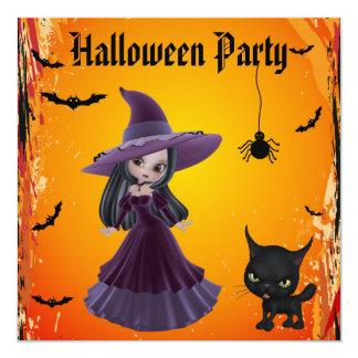 Partie mignonne de Halloween de sorcière et de Carton D'invitation 13,33 Cm