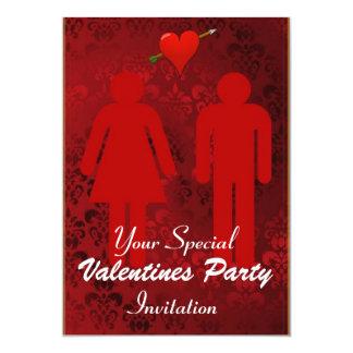 Partie rouge d'une manière amusante de jour de carton d'invitation  12,7 cm x 17,78 cm