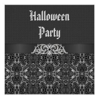 Partie vintage noire et argentée de Halloween d'él Cartons D'invitation