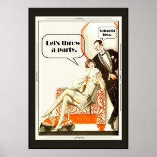 Partie vintage simplement fabuleuse d'art déco des poster