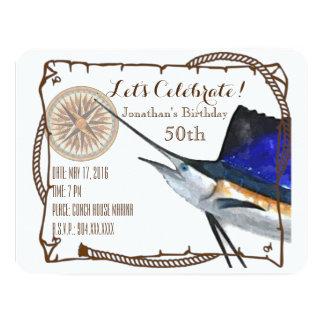 Party Einladung mit Segelfisch