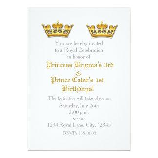 Party Einladung Prinz-Prinzessin Gold Crowns Twins