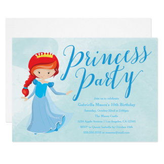 Party Einladung Prinzessin-Birthday - Redhead/Blau