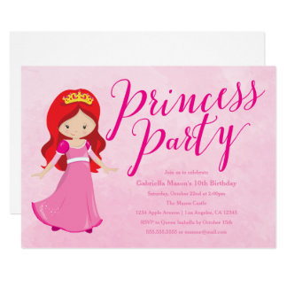 Party Einladung Prinzessin-Birthday - Redhead/Rosa