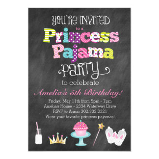 Party Einladung Tafel-Prinzessin-Pajama