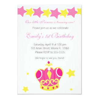 Party Einladungs-Rosa-Sterne Prinzessin-Girl Karte