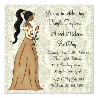 Party Elfenbein-Damast-Prinzessin-Sweet 16 Quadratische 13,3 Cm Einladungskarte