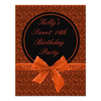 Party heller Glitter-orange 10,8 X 14 Cm Einladungskarte