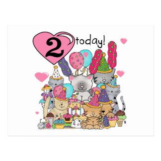 Party-Kätzchen-2. Geburtstags-T - Shirts und Postkarte