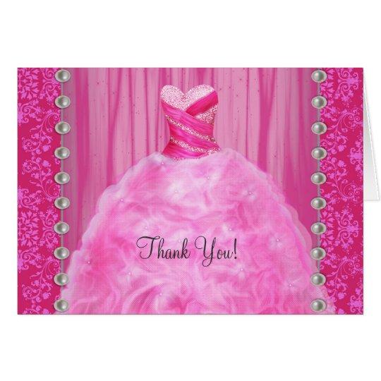 Party-Kleiderperlen-heißes Rosa danken Ihnen Mitteilungskarte