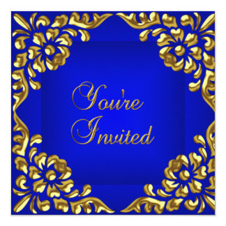 Party laden Goldkönigliches Blau-jede Anlässe ein Quadratische 13,3 Cm Einladungskarte