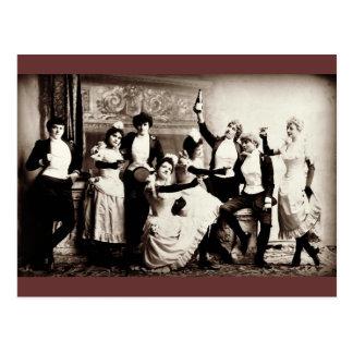 Party-Mädchen-Vintager Druck Postkarte
