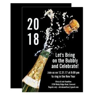 Party moderne Champagne des Sylvesterabends Karte