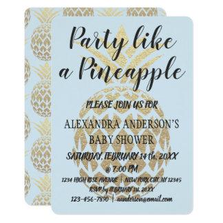 Party mögen eine Ananas-blaues Baby-Dusche Karte